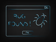 Vector pop-up message Bug found Stock Photos