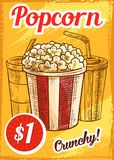 Vector popcorn menu sketch cinema cafe poster. Popcorn price menu sketch poster for cinema bar or bistro. Vector design of crunchy caramel popcorn basket with Stock Photography