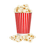 Vector popcorn in striped bucket  isolated on white background Royalty Free Stock Photos