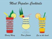 Vector populaire cocktails, met inbegrip van de samenstelling Royalty-vrije Stock Fotografie