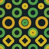Vector popular bordado-como modelo con los cuadrados y las flores de los círculos ilustración del vector