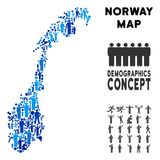 People Norway Map. Vector population Norway map. Demography composition of Norway map created of crowd with different postures. Demographic map in blue tinges stock illustration