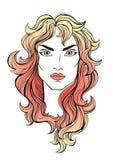 Vector Porträt des Mädchens mit dem langen Haar der roten Koralle auf Weiß Stockfoto