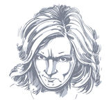 Vector portrait of angry woman with wrinkles on her forehead, il Stock Photography