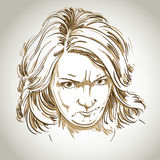 Vector portrait of angry woman with wrinkles on her forehead Royalty Free Stock Photo