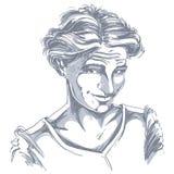 Vector portrait of attractive blameworthy woman, illustration of Stock Photos