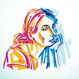 Vector portrait of attractive dreamy woman, facial expressions o. F young lady. Art illustration of melancholic girl in minimalism style, outline Royalty Free Stock Photo