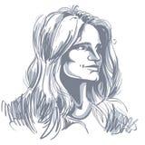 Vector portrait of attractive pensive woman, illustration of goo Stock Photos