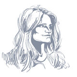 Vector portrait of attractive pensive woman, illustration of goo Royalty Free Stock Images