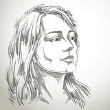 Vector portrait of attractive pensive woman thinking about somet Stock Photos
