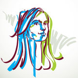 Vector portrait of attractive woman, facial expressions of young Stock Photography