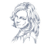 Vector portrait of attractive woman, illustration of good-lookin Stock Photography