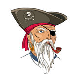 Vector portrait of bearded pirate face with ornate tobacco pipe isolated on white. Pirate head with hat and eye patch. Royalty Free Stock Photo