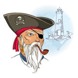 Vector portrait of bearded pirate face with waves and lighthouse isolated. Pirate head with hat and eye patch. Stock Photo