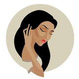 Vector portrait of beautiful deep in thought mulatto girl Stock Photo