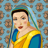 Vector portrait of a beautiful Indian woman in sar Stock Photos
