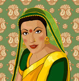 Vector portrait of a beautiful Indian woman in sar Stock Image