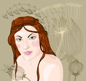 Woman with red hair. Vector portrait of a beautiful woman with red hair on the background of floral ornament royalty free illustration