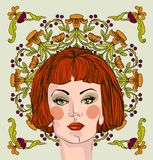 Woman with red hair. Vector portrait of a beautiful woman with red hair on the background of floral ornament Vector Illustration