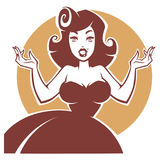 Vector portrait of beauty and surprised pin up lady. Vector portrait of surprised pin up lady royalty free illustration