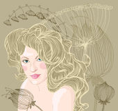 Vector portrait of blond woman on floral backgroun Stock Photo