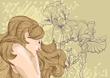 Vector portrait of blond woman on floral backgroun Stock Image