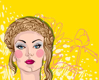 Vector portrait of blond woman on floral backgroun Stock Photos