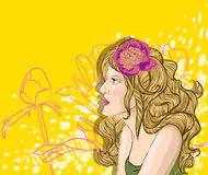 Vector portrait of blond woman on floral backgroun Stock Images