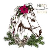 Vector portrait of boho Christmas horse. Decorated with winter floral wreath and fir branch, pinecone and star. Hand drawn vintage engraved style. Christmas Royalty Free Stock Photography