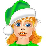 Vector Portrait of a Christmas elf closeup Stock Images
