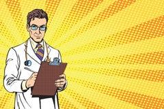 Vector Portrait Of A Confident Mature Doctor stock illustration