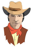 Vector portrait of cowboy Royalty Free Stock Photo