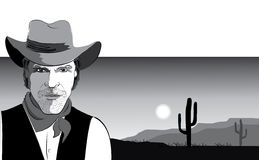 Vector portrait of cowboy Royalty Free Stock Photography