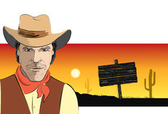 Vector portrait of cowboy Stock Photos
