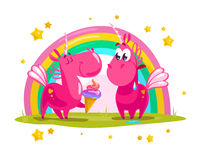 Vector portrait of flat funny unicorn couple with ice cream at rainbow Stock Images