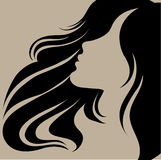 Vector portrait of a girl with beautiful hair Royalty Free Stock Images