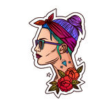 Vector portrait of a girl in a hipster style. Tattoo the girl's face. Stock Image