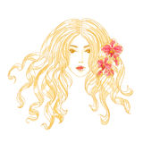 Vector portrait of a girl with orchid flowers. Royalty Free Stock Images