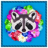 Vector portrait of a grey raccoon among the flowers. Beautiful, bright colors. Flower frame, rim. Symmetrical portraits of animals Royalty Free Stock Image