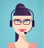 Vector portrait of happy smiling cheerful support. Phone operator in headset, isolated on blue background. Modern, simple, flat and trendy business icon Royalty Free Stock Photography