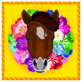 Vector portrait of a horses among the flowers. Beautiful flower frame, rim. Icon. Animal face. Image of a horses face. Stock Photos