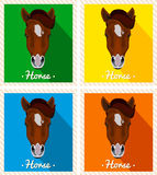 Vector portrait of a horses. Symmetrical portraits of animals. Image of a horses face. A brown horse with a mane. Royalty Free Stock Photos