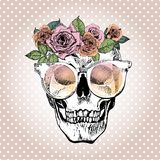 Vector portrait of human skull wearing the floral crown and sunglasses.  on white polka dots. Stock Photography