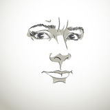 Vector portrait of irate woman, illustration of good-looking but Royalty Free Stock Photo
