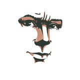Vector portrait of irate woman, illustration of good-looking but. Angry female. Person emotional face expression, visage features Royalty Free Stock Photos