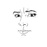 Vector portrait of irate woman, illustration of good-looking but. Angry female. Person emotional face expression, visage features Royalty Free Stock Image