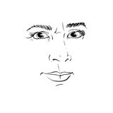 Vector portrait of irate woman, illustration of good-looking but. Angry female. Person emotional face expression, visage features Stock Images
