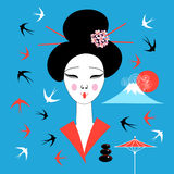 Vector portrait of a Japanese geisha Stock Image