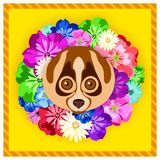 Vector portrait of a lemur among the flowers. Beautiful, bright colors. Flower frame, rim. Symmetrical portraits of animals. Stock Photo