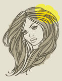 Vector portrait of long haired girl with flower. Portrait of long haired girl with yellow flower. Vector illustration Stock Photos
